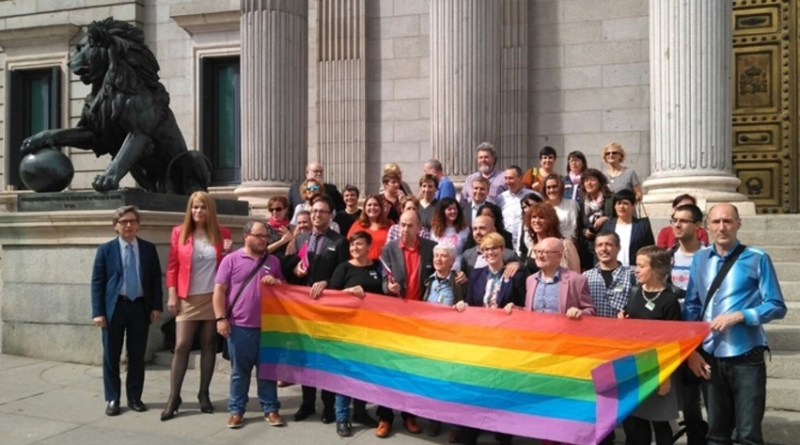 Colectivos y grupos políticos posan tras el registro de la Ley de Igualad LGTBI./ FLGTBI